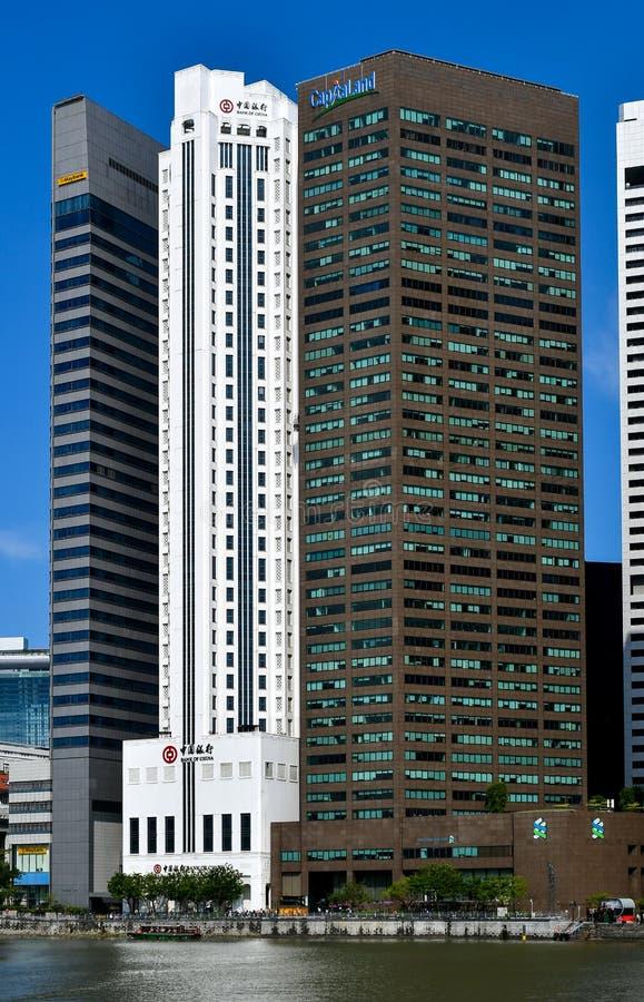 Distrito financiero de la central de Singapur foto de archivo