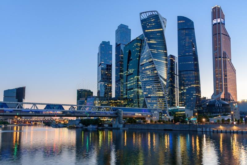 Distrito financiero en Moscú - el centro de negocios internacional 'ciudad de Moscú de Moscú ', Rusia imagen de archivo libre de regalías