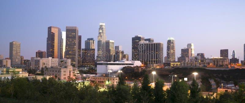 Distrito financiero Los Ángeles California Downt de los edificios de oficinas fotos de archivo