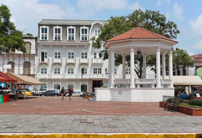 Distrito histórico a Cidade do Panamá de Casco Viejo do miradouro foto de stock royalty free