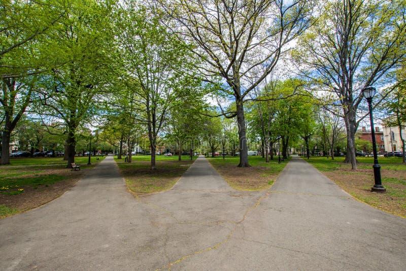 Distrito histórico da rua da corte no quadrado de Wooster em New Haven imagem de stock royalty free