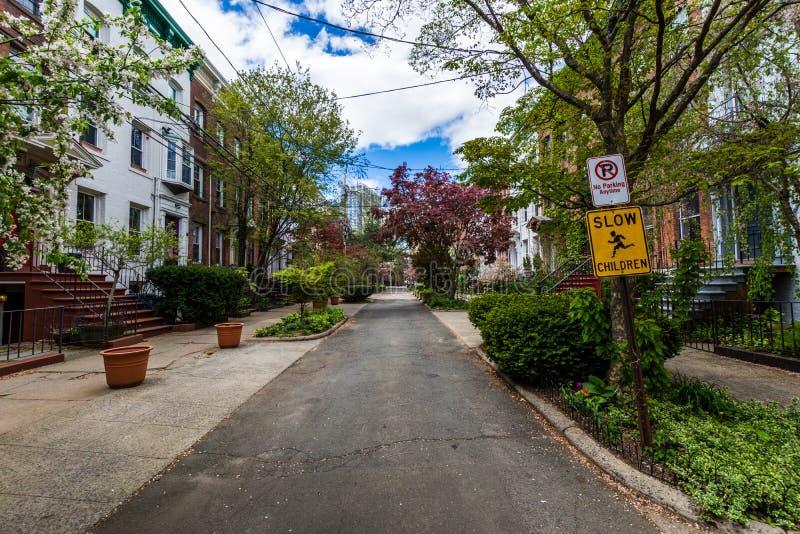Distrito histórico da rua da corte no quadrado de Wooster em New Haven imagens de stock royalty free