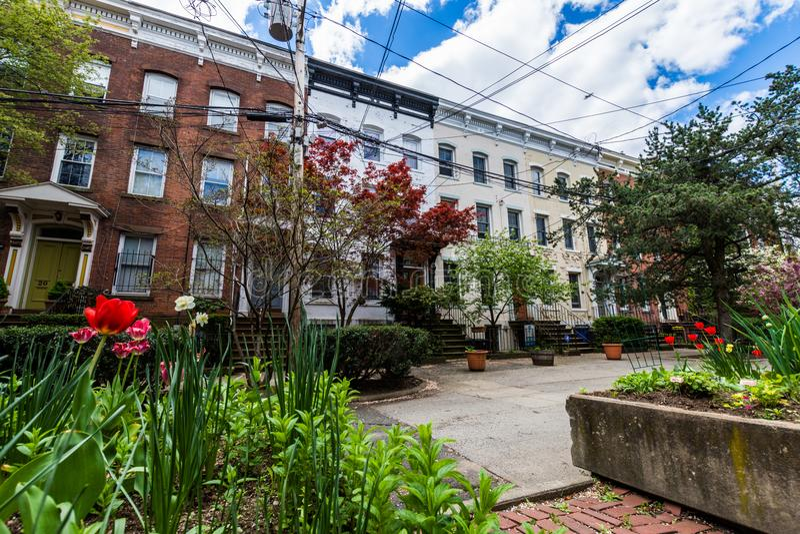 Distrito histórico da rua da corte no quadrado de Wooster em New Haven fotos de stock