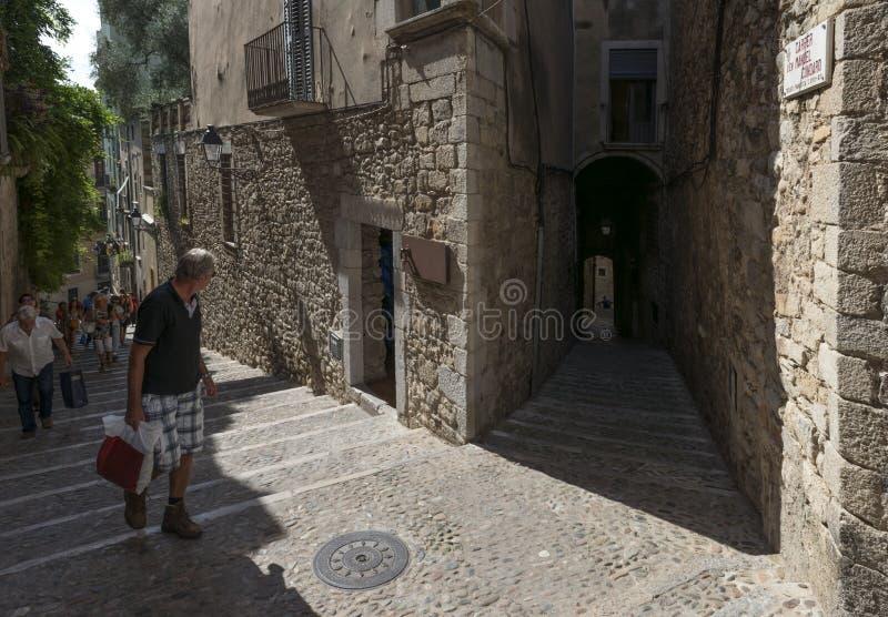 Distrito histórico de Barri Vell en Girona imagen de archivo