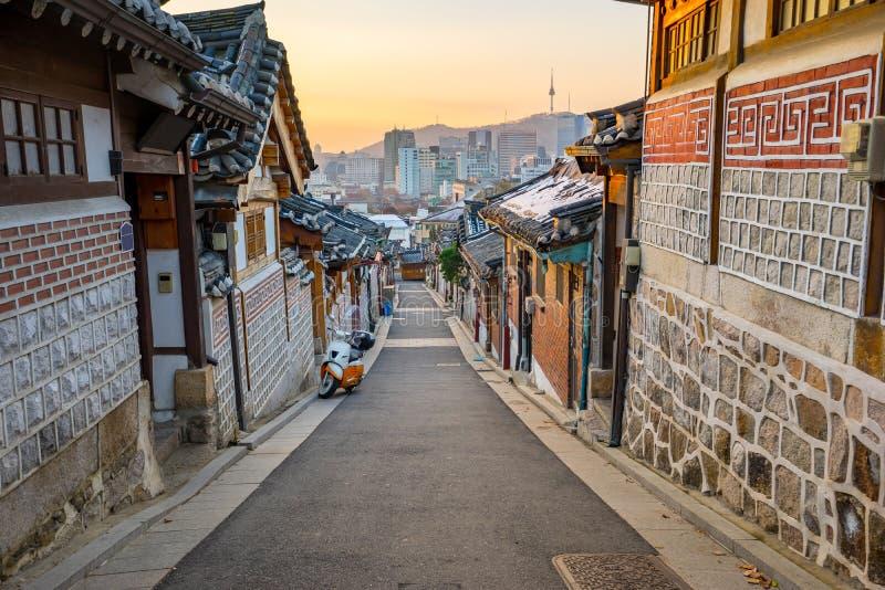 Distrito histórico de Bukchon Hanok en Seul, Corea del Sur fotografía de archivo libre de regalías