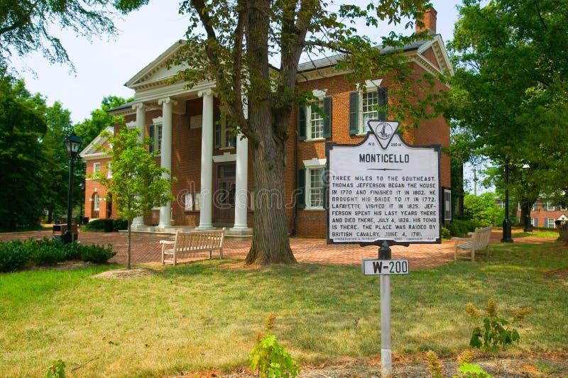 Distrito histórico de Charlottesville, Virginia, hogar de presidente Thomas Jefferson fotos de archivo libres de regalías