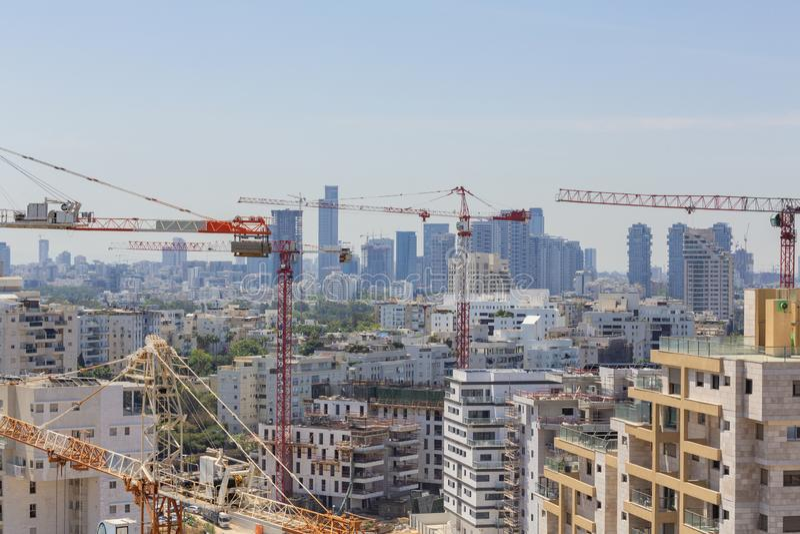 Distrito novo no local norte do telefone Aviv Modern Building And Constraction, Ramat Aviv, Tel Aviv, Israel imagens de stock