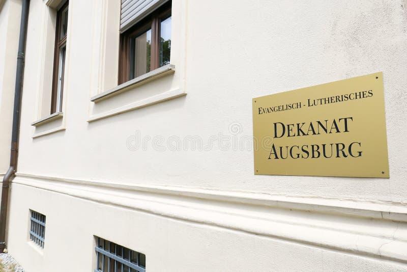 Distrito protestante Augsburg de la iglesia luterana foto de archivo