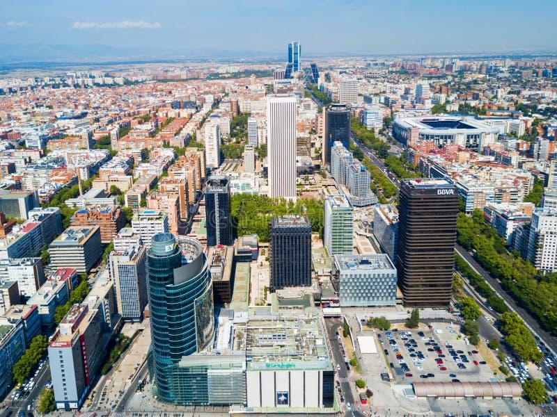 Distritos financieros de AZCA y de CTBA en Madrid, España fotografía de archivo libre de regalías