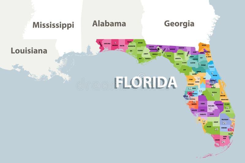 Distritos parlamentares do ` s de Florida para o 115th mapa do vetor do congresso 2017-2019 ilustração royalty free