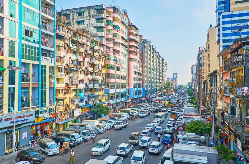 Distritos velhos de Yangon, Myanmar imagens de stock royalty free