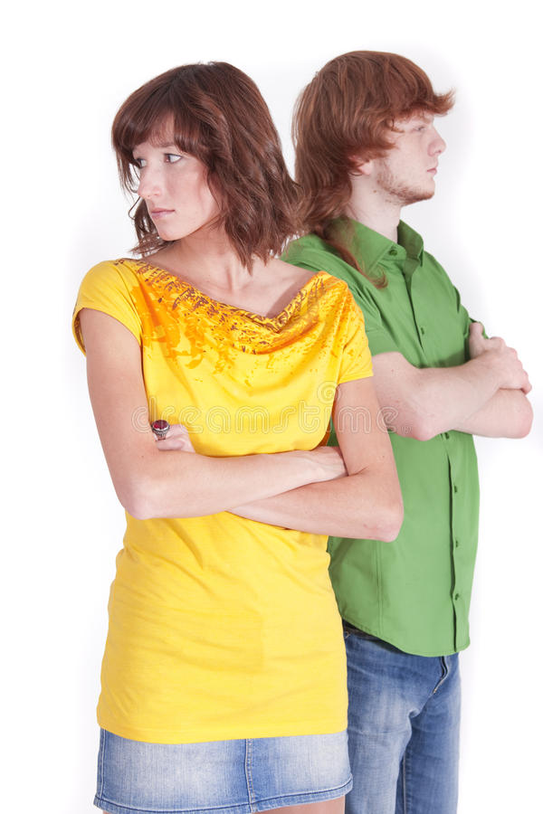 Distrust in relationship. Distrust between man and woman in a relationship royalty free stock photos