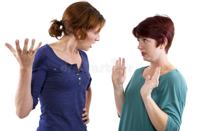 Distrust. Two Caucasian women arguing and distrusting each other royalty free stock photography
