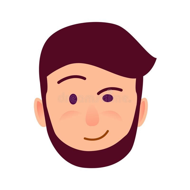 Distrustful Young Man Face Flat Vector Icon royalty free illustration