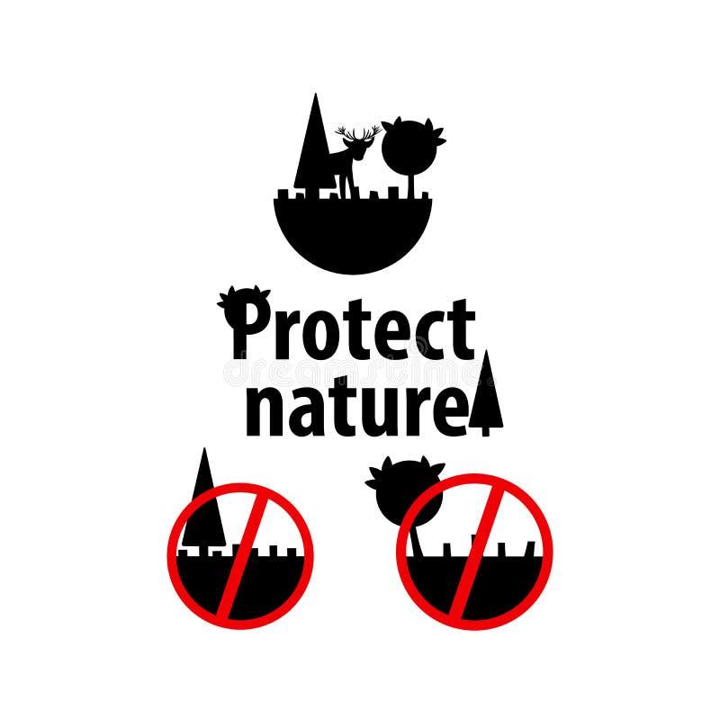 Distruzione della foresta, problemi ambientali, disboscamento icone di vettore per ecologia illustrazione vettoriale