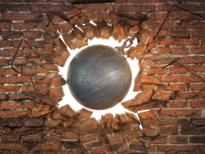 Distruzione della sfera che distrugg il muro di mattoni illustrazione vettoriale