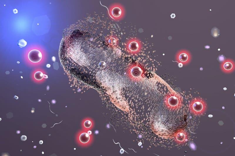 Distruzione di un batterio dalle nanoparticelle d'argento royalty illustrazione gratis