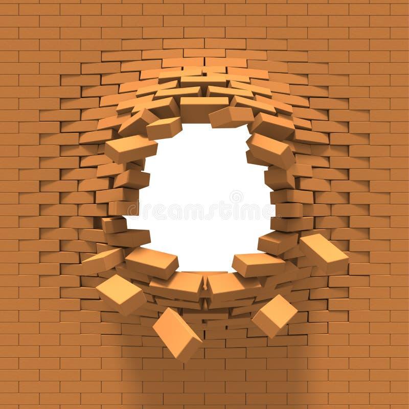 Distruzione di un muro di mattoni illustrazione vettoriale