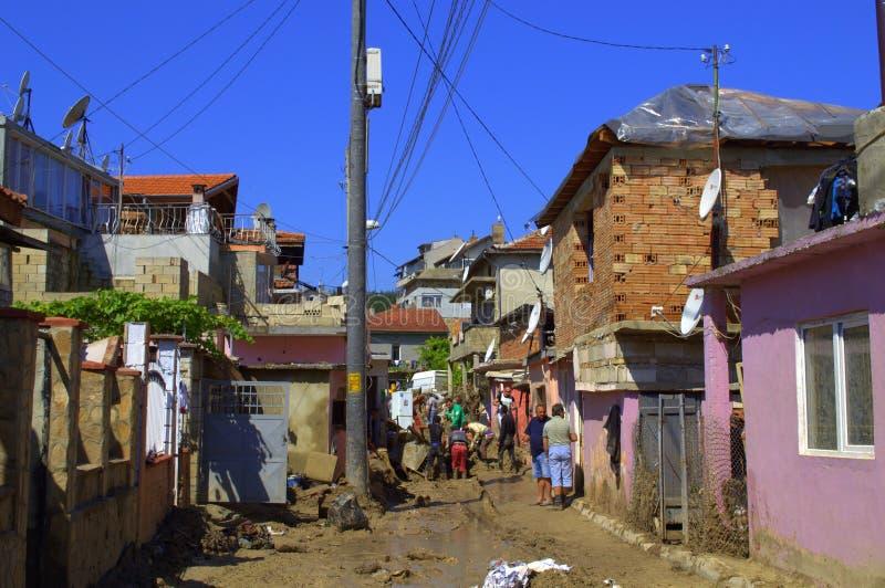 Distruzione nell'inondazione di Varna Bulgaria fotografia stock