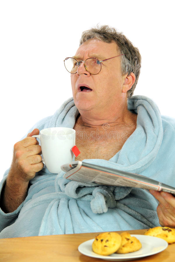 Download Disturbed Middle Aged Man stock image. Image of newspaper - 13399851