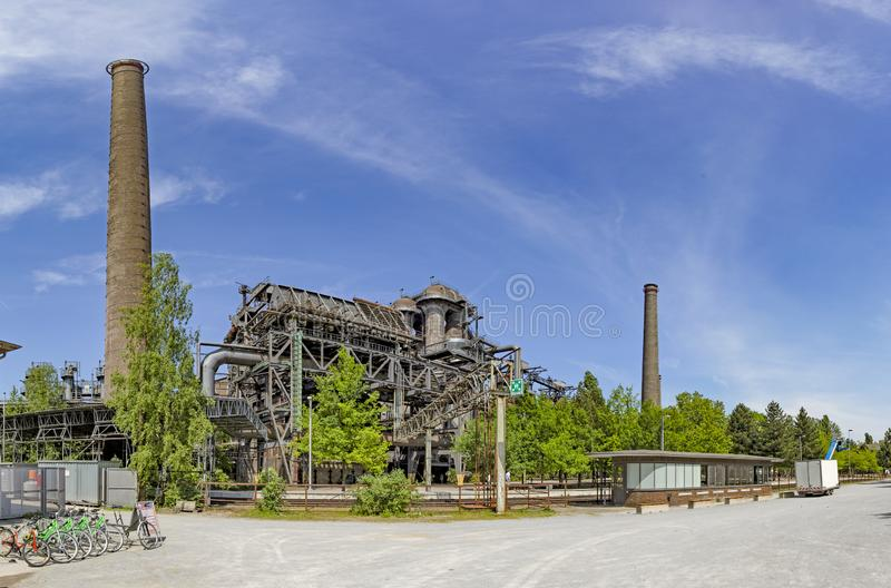 Disused blast furnace plant in Duisburg, Ruhr area district stock image
