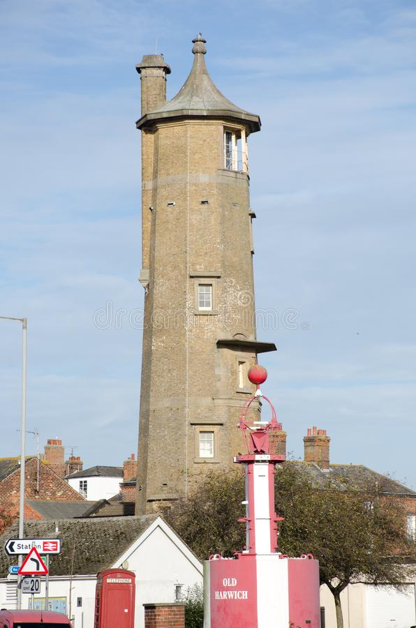 Disused lighthouse in centre of Harwich. Harwich Essex United Kingdom -16 November 2017: Disused lighthouse in centre of Harwich royalty free stock photography