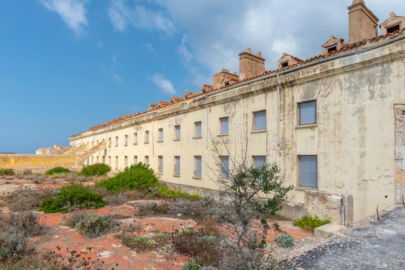 Disused military building in Bonifacio, France royalty free stock photography