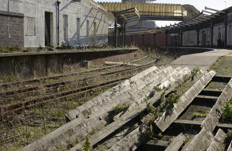 Disused railway station at Folkestone harbour. England. Disused and abandoned railway station at Folkestone Harbour in Kent. England royalty free stock photography