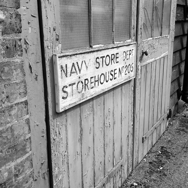 Old royal navy store. Disused royal navy store in Chatham historic dockyard stock image