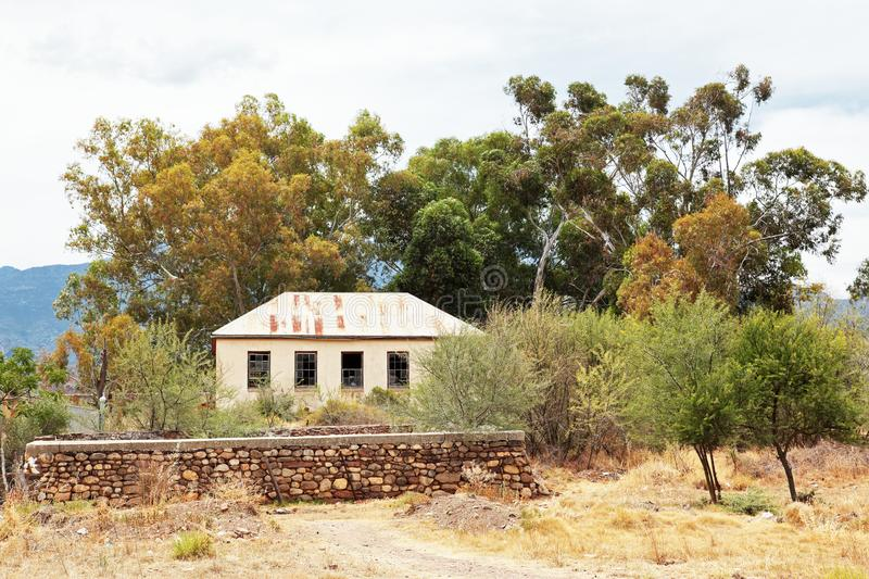 Disused school building in dilapidated state in Dwarsrivier ,Western Cape stock images