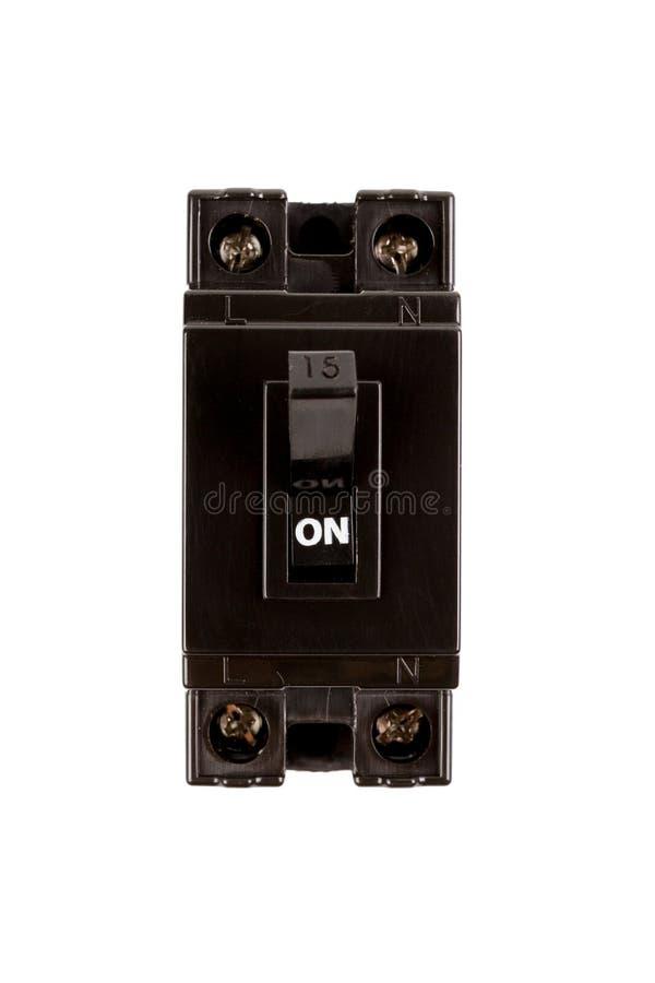 Disyuntores negros 15 amperios monopolo de la seguridad fotografía de archivo libre de regalías