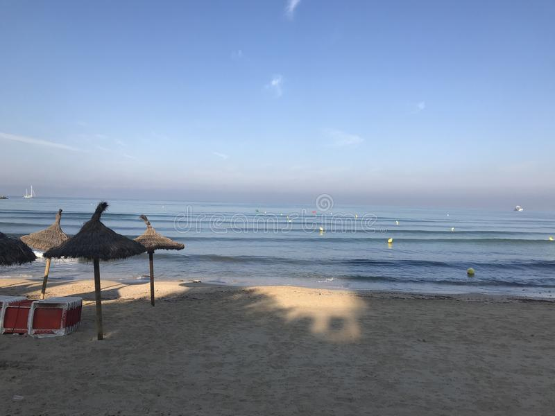 Dit is Arenal Strand bij de Zomer Mallorca royalty-vrije stock foto's