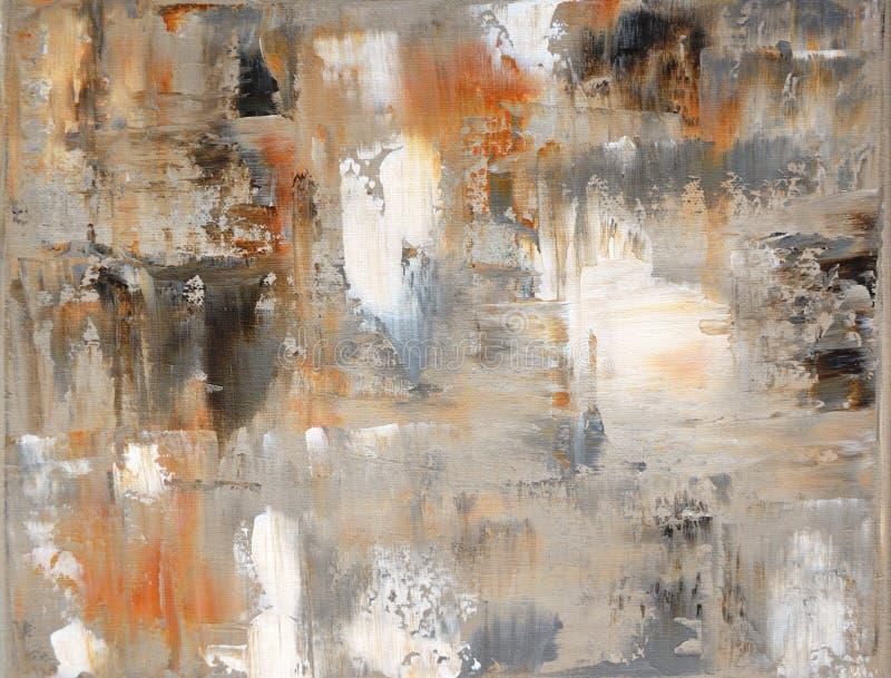 Het bruine en Beige Abstracte Schilderen van de Kunst royalty-vrije stock afbeelding