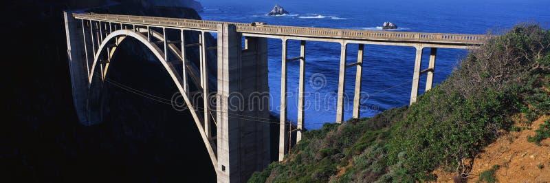 Dit is de Brug Bixby die Route 1in Noordelijk Californië draagt Het is ook Route 1 is ook genoemd geworden Weg van de Vreedzame K royalty-vrije stock afbeelding