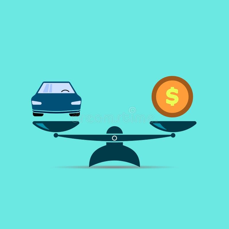 Dit is dossier van EPS10-formaat Auto en geld vectorkleurensymbool EPS10 royalty-vrije illustratie