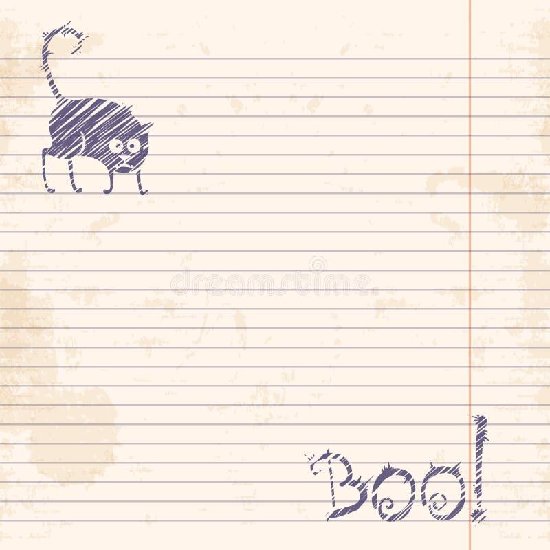 Dit is dossier van EPS10-formaat Boe-geroep! Schets op notitieboekje beslist document stock illustratie