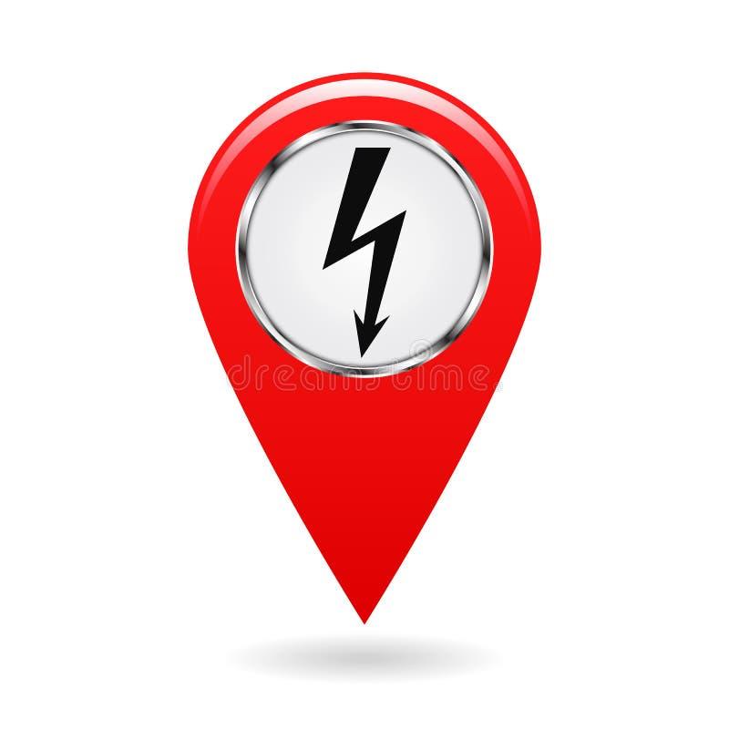 Dit is dossier van EPS10-formaat De wijzer van elektrische centrales en diverse voorwerpen had op elektriciteit op de gebiedskaar vector illustratie