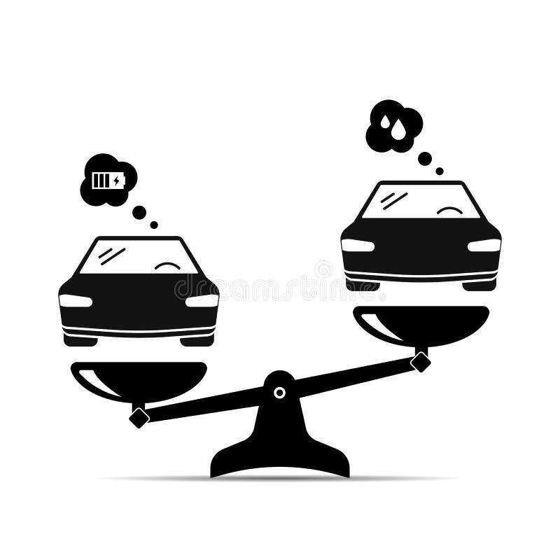 Dit is dossier van EPS10-formaat elektrische auto en benzineauto royalty-vrije illustratie