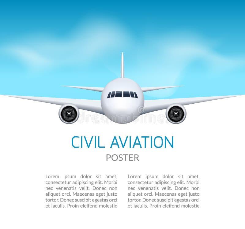 Dit is dossier van EPS10-formaat Het commerciële concept van de lijnvliegtuigreis Vliegtuig in blauwe hemel, het ontwerp van het  stock illustratie