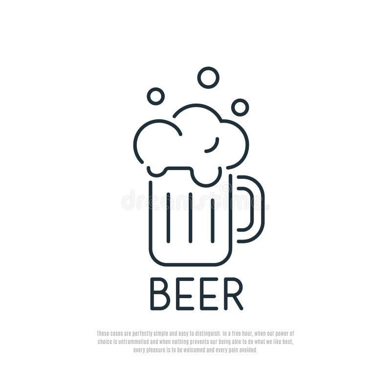 Dit is dossier van EPS10-formaat Mok bier met schuim De stijl van de lijnkunst royalty-vrije illustratie