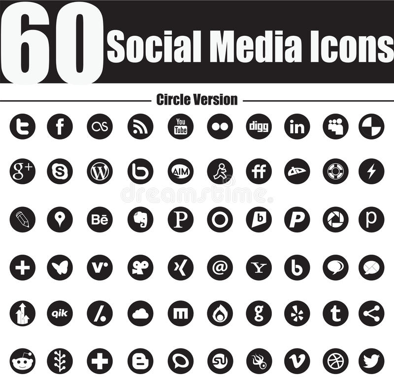 60 de sociale Pictogrammen van Media omcirkelen Versie vector illustratie