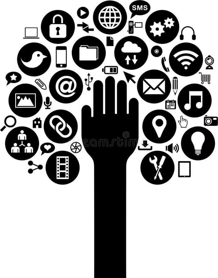 De sociale media en de Bedrijfspictogrammen met overhandigen stock illustratie