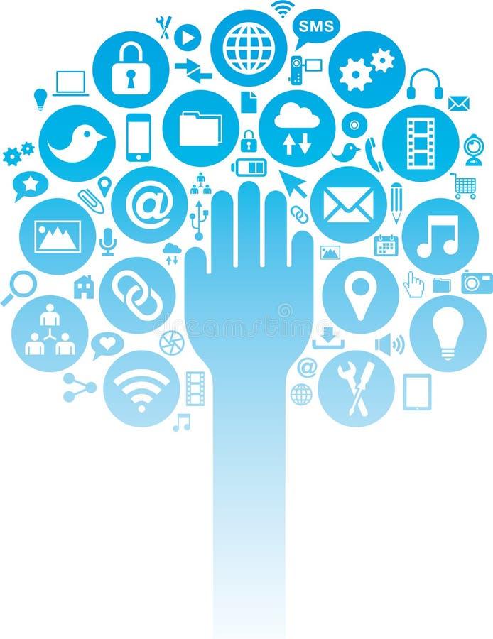 De sociale media en de Bedrijfspictogrammen met overhandigen vector illustratie