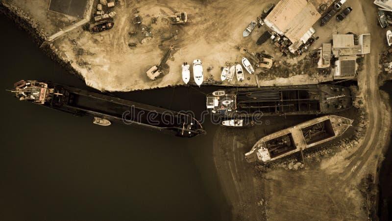 Dit is een bureau en shipyardin een Tavira in Algarve royalty-vrije stock afbeelding