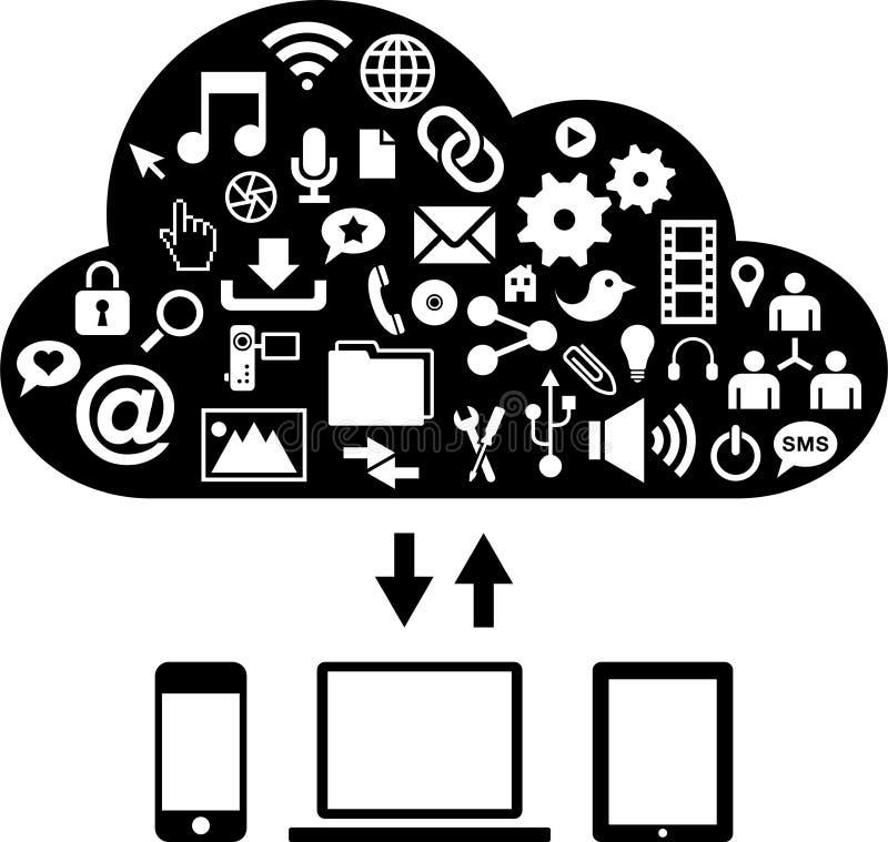 Sociaal netwerk, mededeling in de mondiale computernetten stock illustratie