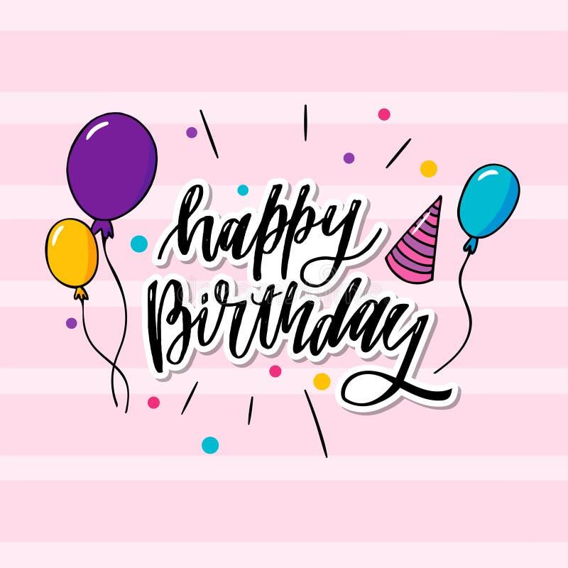 dit is gelukkige verjaardagstypografie die kan op behang, kaart, verjaardagskaart ook worden toegepast is stock illustratie