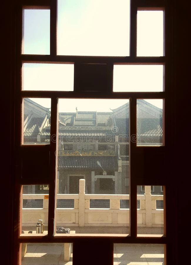 Dit is het landschap van de oude de bouwstraat in Huizhou, China stock afbeelding