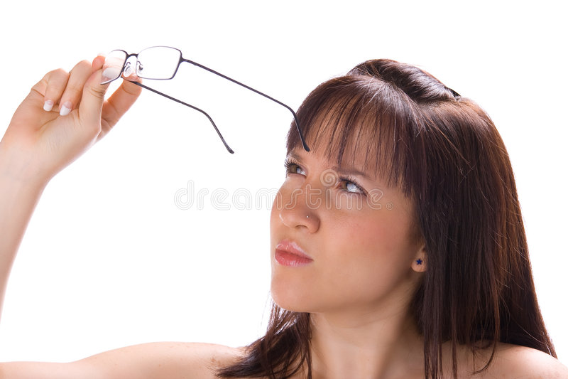Dit meisje heeft glazen nodig stock fotografie