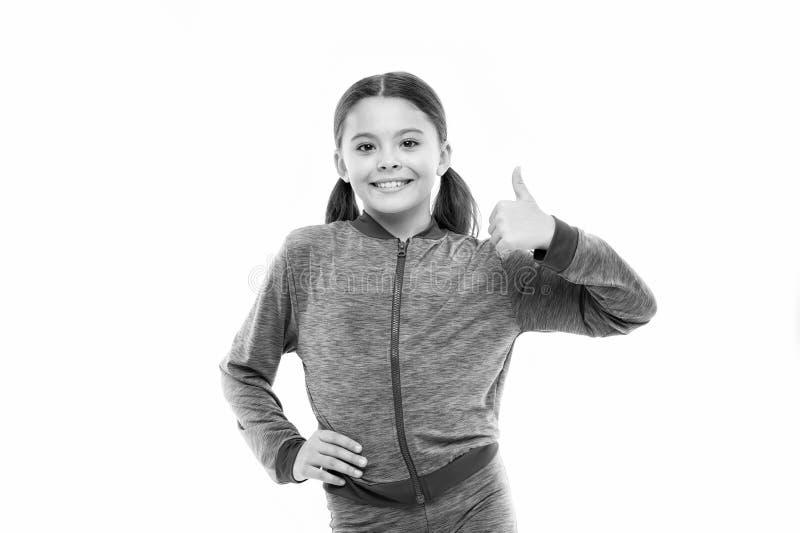 Dit is ontzagwekkend Toont het meisjes leuke kind duimen op gebaar De giften zullen uw tienerjaren totaal van houden Het jonge ge royalty-vrije stock foto
