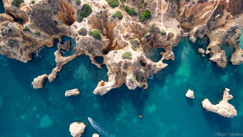 Dit is Praia Dona Ana in Lagos in Algarve royalty-vrije stock foto's